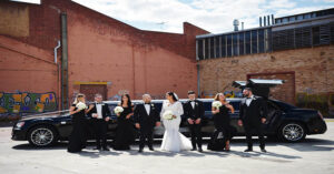 wedding parties in Williamsburg with limousine